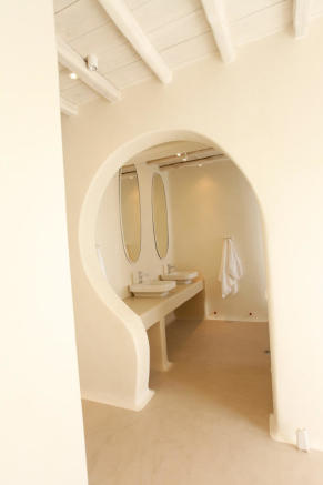 Ensuite bathroom twin sink Fanari Mykonos