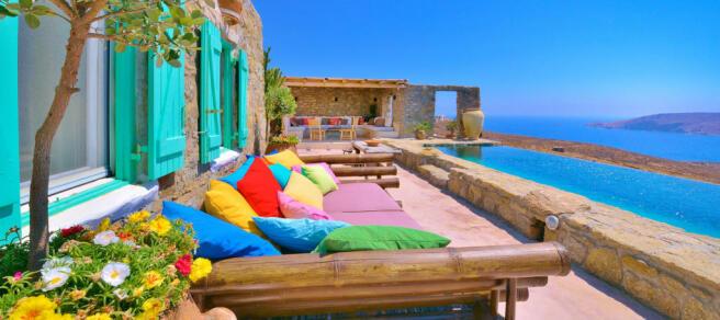 Infinity edge swimming pool sun terrace ocean sea view Lia Mykonos