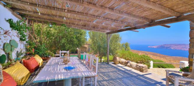 Covered terrace ocean sea view sitting area Lia Mykonos