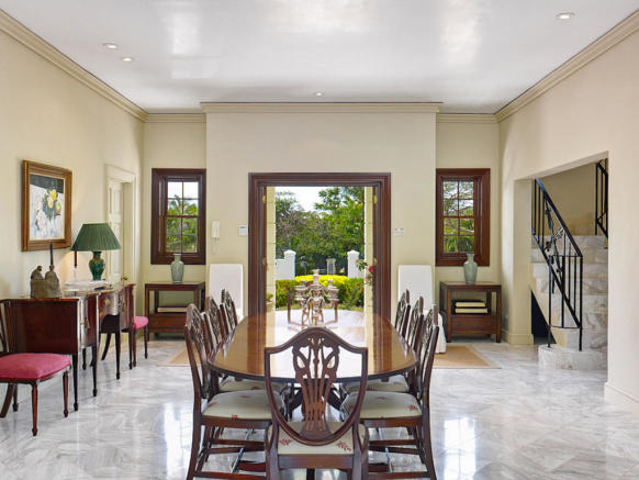 Dining room large marble floor Sand Box at Sandy Lane Barbados