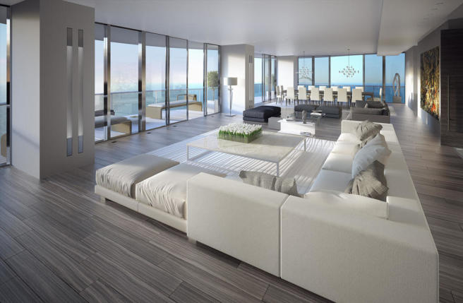 Living room dining open plan sliding doors balcony Regalia Miami Florida