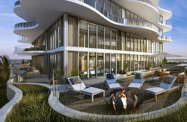 Sun terrace outdoor seating covered Regalia Miami Florida