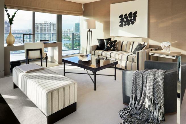 Living room french doors balcony Regalia Miami Florida