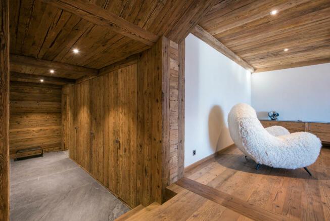 Hallway stone floor wood Residence Alex Verbier
