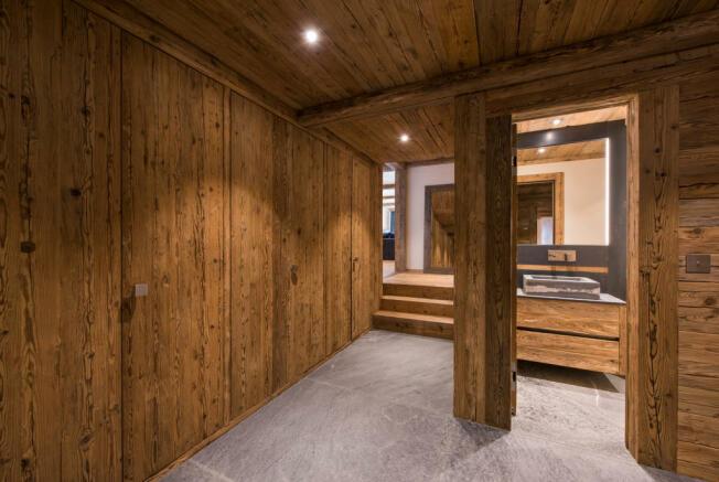 Kit room ski tack boot bathroom stone floor Residence Alex Verbier