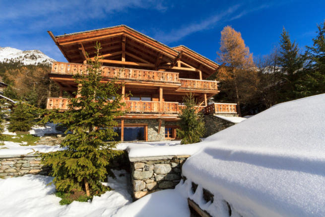 Chalet façade in the snow