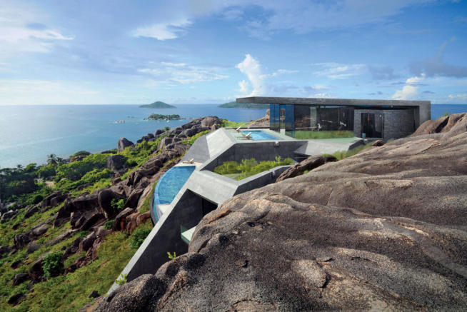 Rear facade ocean sea view Zil Pasyon Residences Seychelles