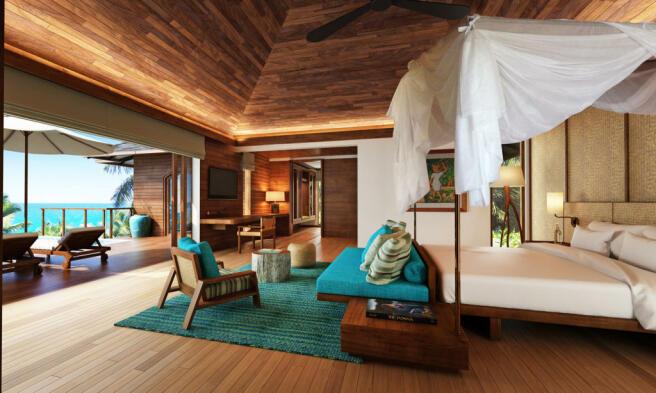 Bedroom master sliding doors wood floor french Zil Pasyon Residences Seychelles