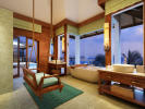 Bathroom bath tub twin sink hanging chair Zil Pasyon Residences Seychelles
