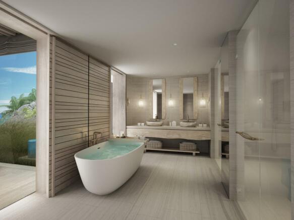 Bathroom bath tub stone floor twin sink Zil Pasyon Residences Seychelles