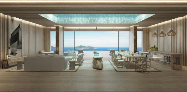 Dining living room open plan large windows sea ocean view Zil Pasyon Residences Seychelles