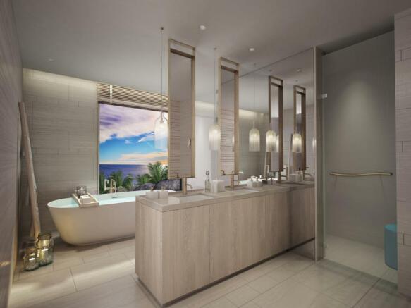 Bathroom bath tub twin sink Zil Pasyon Residences Seychelles