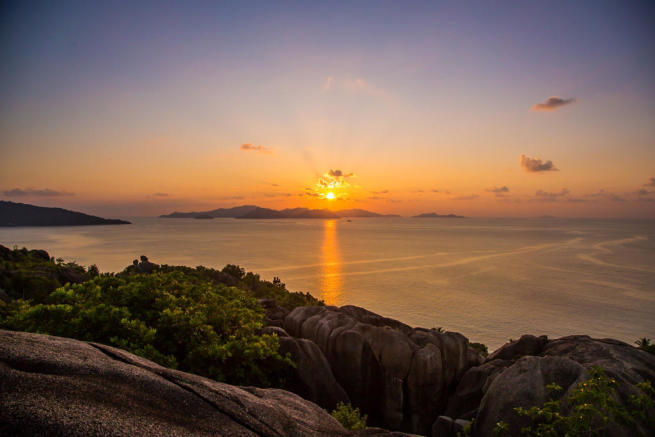 Sunset view over Praslin Island from Felicite