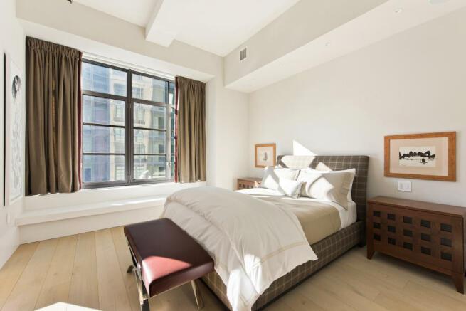 Bedroom wood floor Park Avenue South New York
