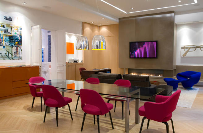 Open plan modern dining and living room wood floor Phalsbourg Paris