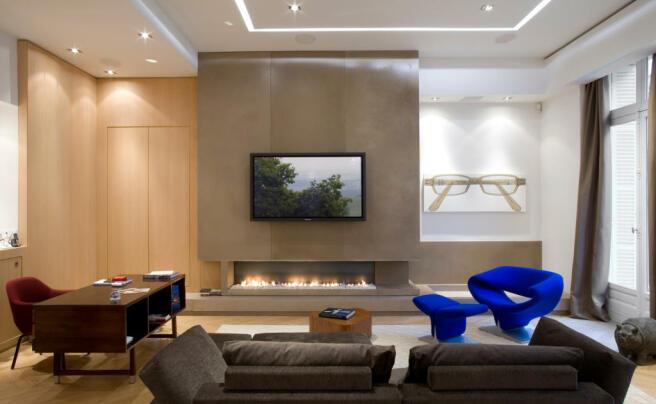 Sitting room with modern fireplace Phalsbourg Paris