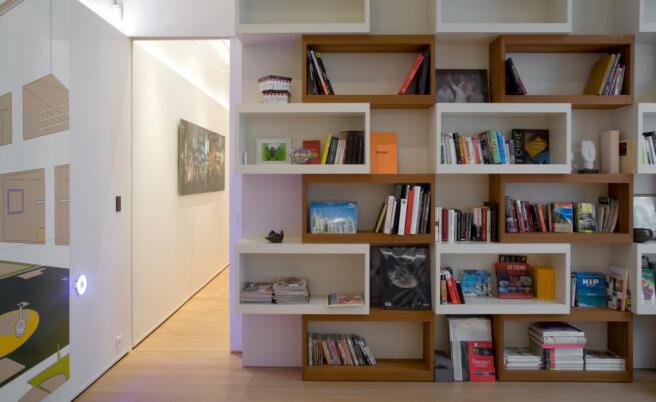 Library bookshelf wooden floor Phalsbourg Paris