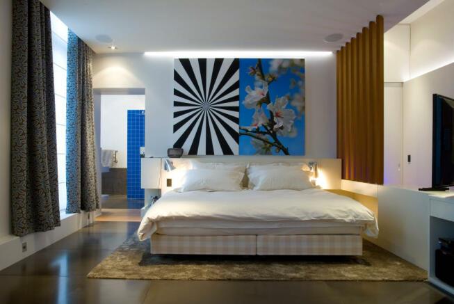 Master bedroom with en suite stone floor Phalsbourg Paris
