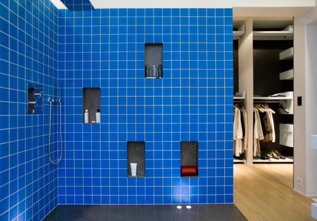 Blue wet room shower Phalsbourg Paris