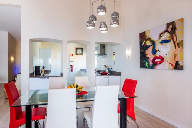 Dining room open plan modern chandelier Villa Aquarela Madeira Portugal