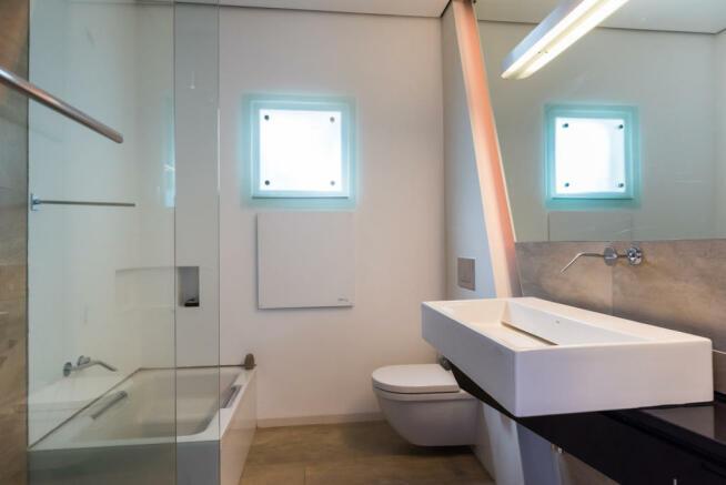 Bathroom stone sink bath tub Villa Aquarela Madeira Portugal