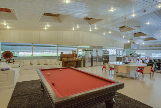 Pool table open plan living dining room Finca Mia Vall d'en Bas Girona