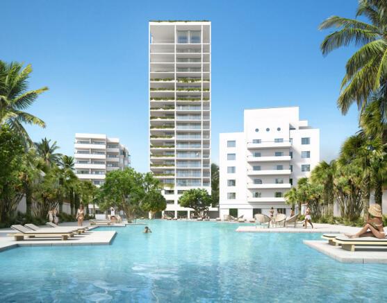 Swimming pool rear facade Fasano Shore Club South Beach Miami Florida