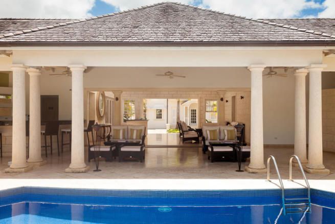 Swimming pool covered terrace Battaleys Mews St Peter Barbados