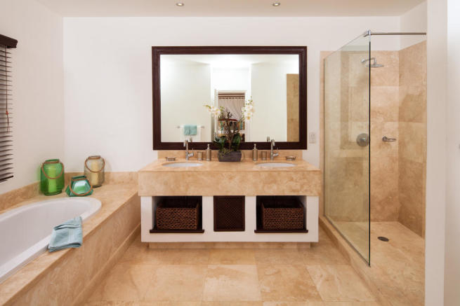 Bathroom marble twin sink bath tub shower Battaleys Mews St Peter Barbados