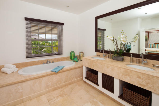 Bathroom marble twin sink bath tub Battaleys Mews St Peter Barbados