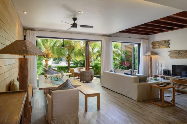 Duplex interior living area at La Balise Marina in Mauritius