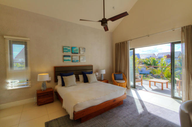 Duplex master bedroom in show house at La Balise Marina in Mauritius