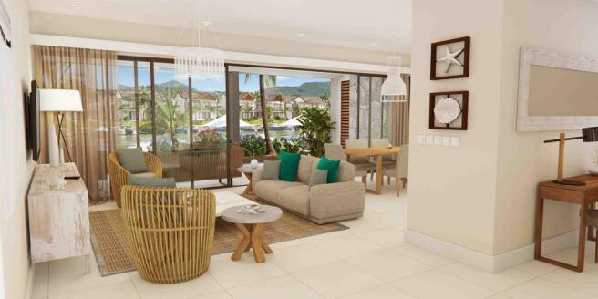 Living room dining open plan stone floor sliding doors La Balise Marina Mauritius