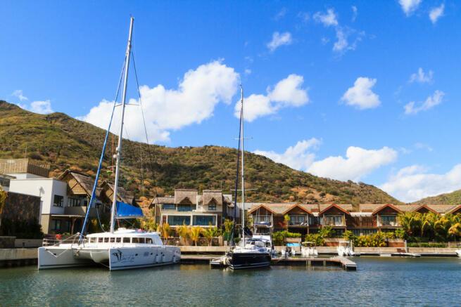 Catamaran and yacht berths at La Balise Marina in Mauritius
