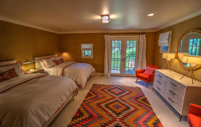 Bedroom twin french doors Cascabel Ranch Colorado
