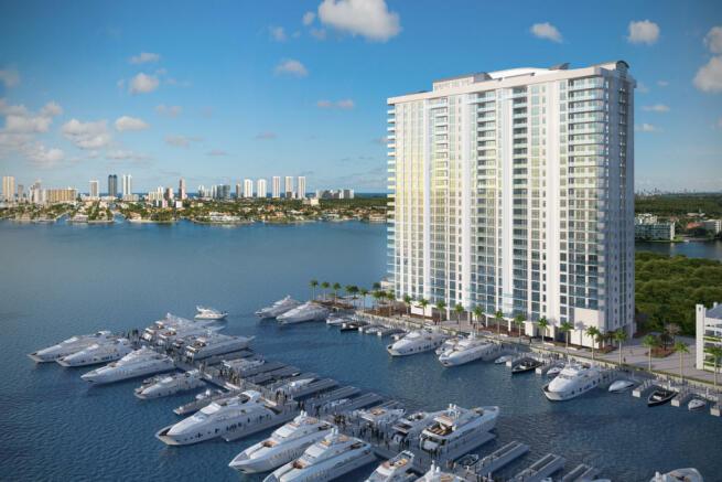 Dock marina facade Marina Palms Miami Florida