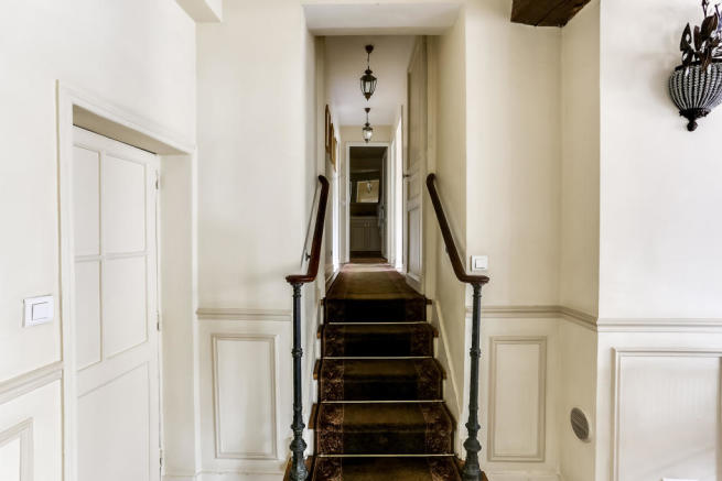 Hallway stairs wooden rails Rue de Turenne Paris