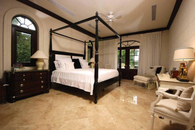 Bedroom master marble floor french doors Monkey Business Barbados