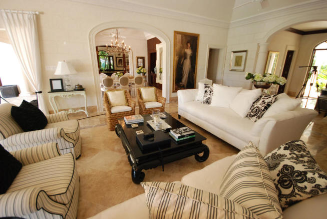 Living room marble floor open plan Monkey Business Barbados