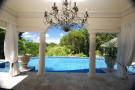 Swimming pool area covered terrace columns Monkey Business Barbados