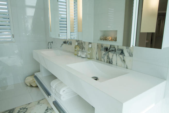 Bathroom white twin sink Footprints Barbados
