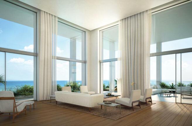Living room sliding doors balcony wood floor Fasano Shore Club South Beach Miami Florida