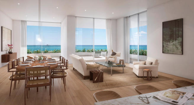 Living room kitchen dining breakfast bar wood floor Fasano Shore Club South Beach Miami Florida