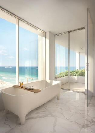 Bathroom free standing tub bath marble floor Fasano Shore Club South Beach Miami Florida