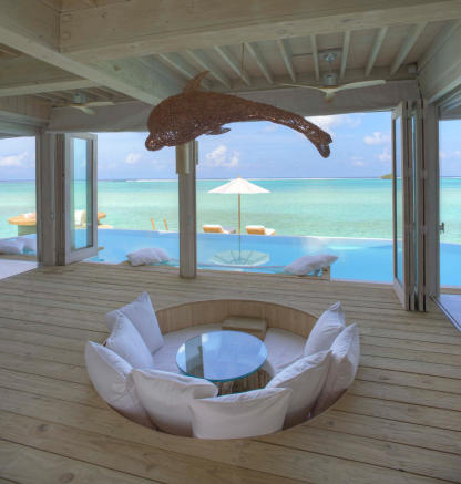 View from inside over water villa at Soneva Jani