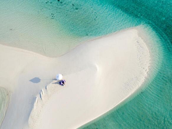 Aerial view of sandbank at Soneva Jani