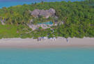 Aerial view of 4 bedroom island reserve on the beach at Soneva Jani