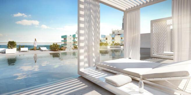 Pool swimming deck sun terrace Three Hundred Collins Florida Miami