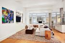 Living room kitchen dining breakfast bar open plan Greenwich Street Apartment New York
