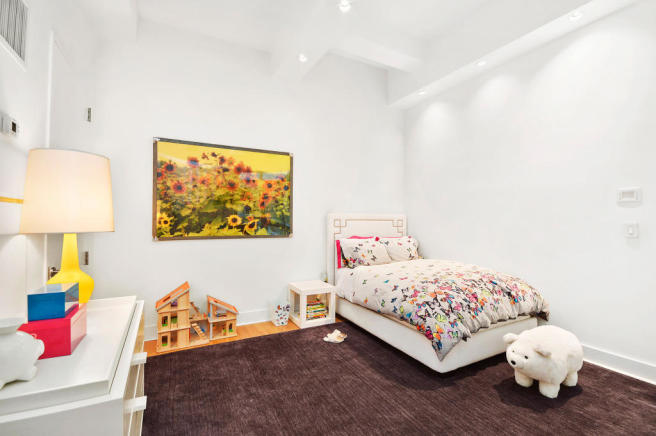 Bedroom high ceiling wood floor Greenwich Street Apartment New York